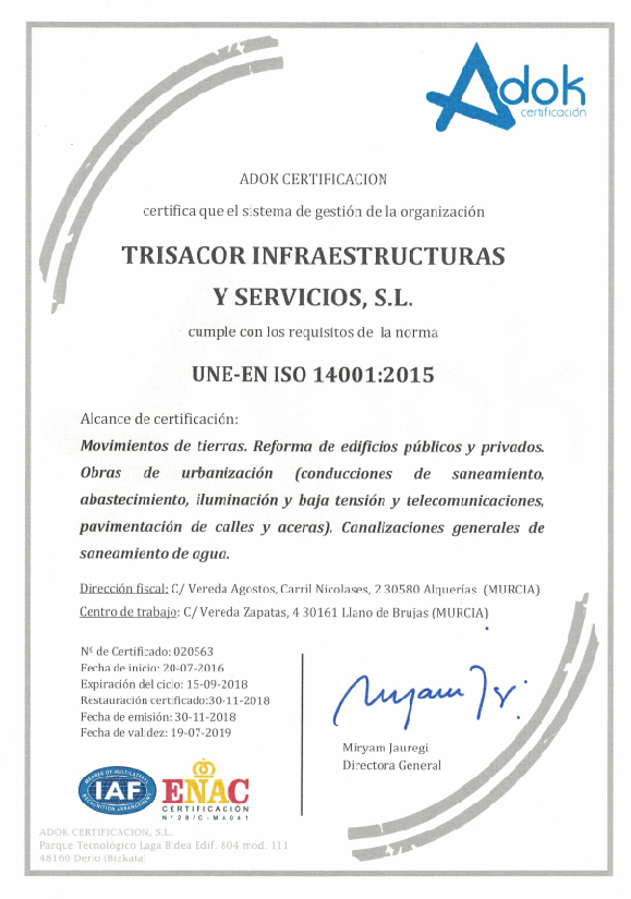 Adok Certificado Trisacor 14001:2015